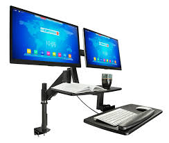 Desk Mount Laptop Stand by Sit Stand Workstation For Two 27 Monitors