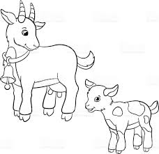 coloring pages farm animals cute mother goat with goatling stock