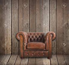 Leather Armchair Classic Brown Leather Armchair In Wooden Room Stock Photo Picture