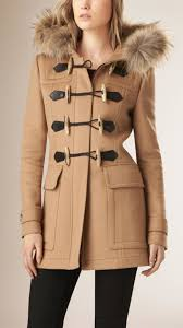 burberry blackwell detachable fur trim wool duffle coat camel in