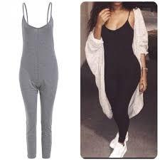 gray jumpsuit solid sleeveless sling jumpsuit black gray bodycon legging