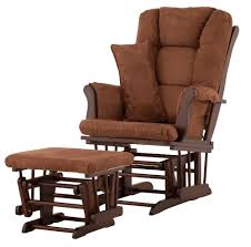 Fabric Glider Recliner With Ottoman Upscale Foot Buffer Brown Fabric Colour Wooden Pouffe Design Then