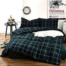 amazon com plaid flannel duvet cover set queen king size bedding