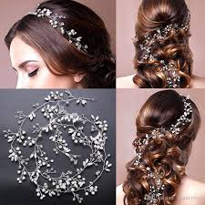 luxury hair accessories wedding bridal bridesmaid silver handmade rhinestone pearl
