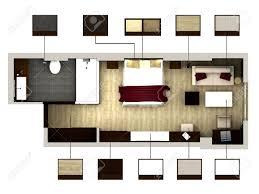 Design Von Schlafzimmer 3d Rendering Von Schlafzimmer Oder Hotelzimmer Lizenzfreie Fotos