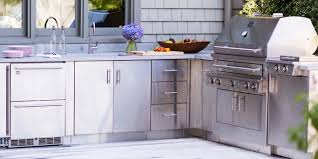 stainless steel outdoor kitchen cabinets are modern and trendy