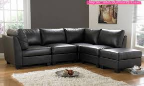 Living Room With Black Leather Furniture by L Shaped Black Leather Sofa Living Room Design