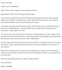 transport coordinator cover letter example u2013 cover letters and cv