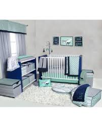 Crib Bedding Sets Unisex Deals On Bacati Noah Tribal Mint Green Navy 10 Nursery