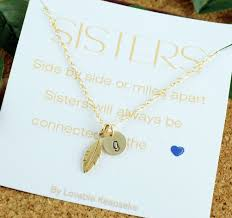 photo gifts necklace images Feather charm necklace sister gift sister necklace big jpg