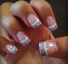 french tip nails with glitter really pretty nails pinterest
