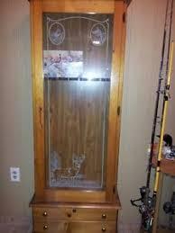Wood Gun Cabinet Decorative Wood Gun Cabinet With Wildlife Etched Glass Front Ebay