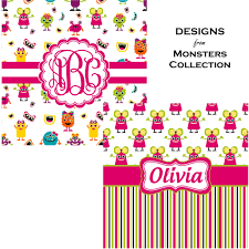 girly monsters bathroom accessories set personalized potty