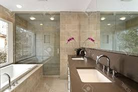 Bathroom White Porcelain Flooring Stainless by Master Bathroom Modern Wall Mounted Square Porcelain Right Facing