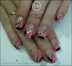 pink and black nails pink black silver nails with bling