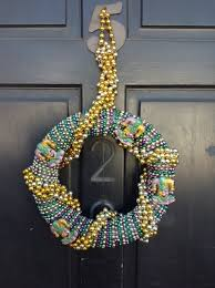mardi gras bead wreath paint the town purple green and gold gonola
