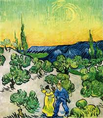 van gogh vincent couple walking among olive trees in a mountainous