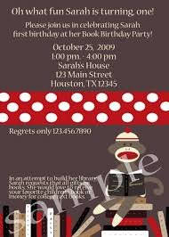 invitation wording book birthday party parties pinterest