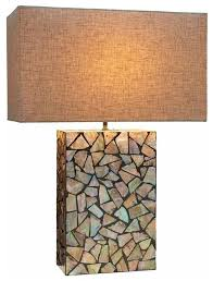 Mosaic Table Lamp Mosaic Mother Of Pearl Table Lamp Beach Style Table Lamps By