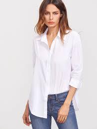 white lapel long sleeve buttons blousefor women romwe