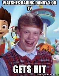 watches daring danny x on tv gets hit paw patrol bad luck brian