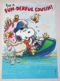 cousin birthday card snoopy woodstock boating cousin birthday greeting card