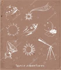 sketches of space objects the sun the moon stars rocket
