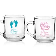 baby mugs baby shower personalized 10 oz glass mugs with handle