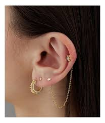 earring helix 1 chain two earring back connector helix helix jewelry