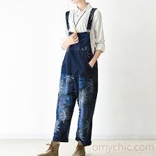 plus size denim jumpsuit blomming jumpsuit casual dress denim blue denim clothing plus size3 jpg