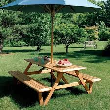 larchmont picnic table with teak 10 ft octagon umbrella in