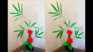 diy how to make paper flower ikebana with paper bamboo leaves