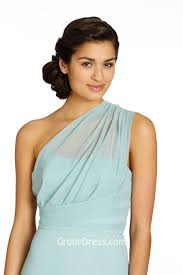 ice blue one shoulder chiffon a line short bridesmaid dress