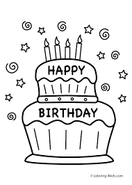 Cake Happy Birthday Party Coloring Pages Nice For Within Page Birthday Cake Coloring Pages