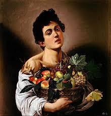 basket of fruit boy with a basket of fruit
