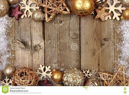 gold christmas gold christmas ornament border with snow frame on wood stock