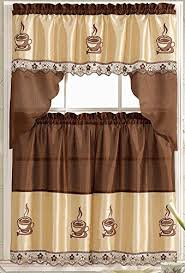 coffee kitchen curtains coffee embroidered kitchen curtain tiers swag set