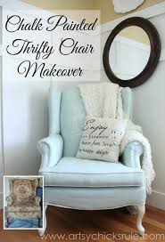 How To Reupholster A Wingback Armchair Painted Upholstered Chair Makeover Chalk Paint Artsy Rule
