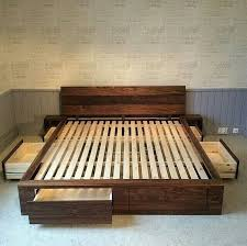 Diy Pallet Bed With Storage by Best 25 Wood Bed Frames Ideas On Pinterest Bed Frames Wood