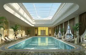 inside swimming pool inside swimming pool with transparent roof nice shining brigh