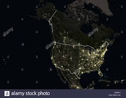 The United States And Canada Map by North America At Night In 2012 Showing The United States And
