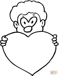 boy is holding valentine u0027s day heart coloring page free
