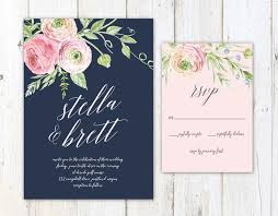 navy blue blush pink wedding invitation printable country wedding - Navy And Blush Wedding Invitations