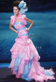 wedding dresses blue and pink