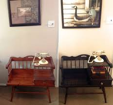 Antique Telephone Bench How To Refinish Wood Furniture Updating An Old Telephone Table