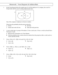 statistics 1 homework on venn diagrams by tristanjones teaching