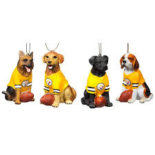 pittsburgh steelers jersey wearing dogs christmas ornament set