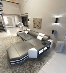 sofa l form modern l shaped sofa prato with led lights leathersofa grey white