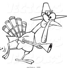 vector of a cartoon turkey pilgrim hunting outlined coloring