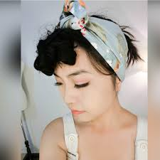 headband wrap vintage 50s japan geisha print hair wrap scarf headband